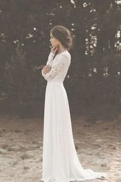 Bridal Gown Long Lace Sleeves Sweetheart Boho Wedding Dress Vintage Bra #bridal #dress #sleeves #sweetheart #vintage