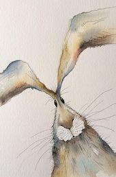Vielen Dank, dass Sie sich mein Hasengemälde angesehen haben! Dies ist eine originelle Aquarellmalerei