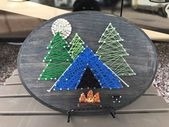 Tent Camping String Art Wood Plaque, Happy Camping Decor, Tent Camping Sign, RV Decor, Nature Lovers Sign, Christmas Gift, Retirement Gift,