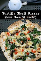 Wie man Tortilla-Muschel-Pizzen mit dem Rezept für diese einfache Dinner-Idee zubereitet. Ich t …