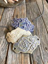 Set of 3 ceramic bracelet connections | DIY stoneware jewelry Jewelry supply …