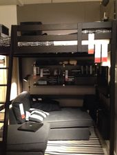 Awesome loft bed for tiny house bedroom, my teenage son will love this! #IKEA