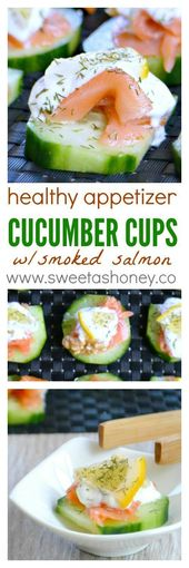 Smoked salmon appetizer | Cucumber cups stuffed | healthy appetizers easy | heal…