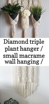 Diamond triple plant hanger / small macrame wall hanging / plant holder / home decor 16