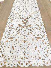 Mexico Handmade Mexican fabric table runner, in lovely Papel Picado design. Flower lace and bird...