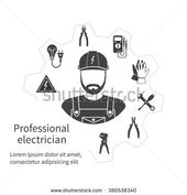 Concept of profession electrician. Repair and maintenance of electricity, servic…