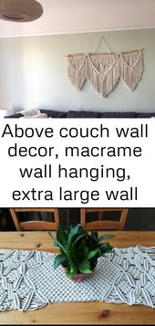 Above couch wall decor, macrame wall hanging, extra large wall art , large wooden heart wall decor 4