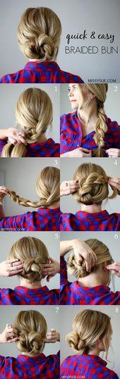 Quick and easy braided bun – short hair hairstyles