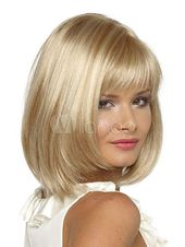 Women Hair Wigs 2019 Blonde Layered Blunt Fringe Straight Shoulder Length Wig Sy... -