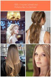 Hellbraunes Haar eines schönen Mädchens mit eleganter Frisur, Haare … – #elegante …   – haar-design