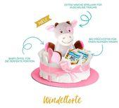 Mädchen Geburt Geschenkidee Kinder Geschenkidee | Windeltorte in pink mit Pony Spieluhr   – Mädchen Geburt Geschenkidee Kinder Geschenk Idee
