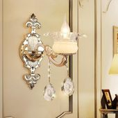 European style bedroom stairs crystal candle wall lamp