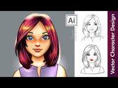 Illustrator Shortcuts  Vector Character Design in Adobe Illustrator - Digital Portrait Drawing - YouTub...