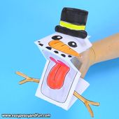 Printable Snowman Puppet Craft for Kids