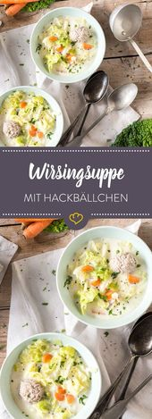 Wirsingsuppe with small meatballs