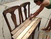DIY Paletten Bank aus Stühlen