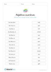 Ein kostenloses Arbeitsblatt zum Thema Adjektive, …
