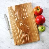 Custom Wooden Cutting Board, Carved initials. Personalized Anniversary Present, Engagement gift. Custom Cheese Board