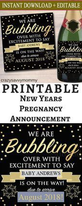 shopstyle.it / … $ 7.00 !! PRINTABLE New Year's Pregnancy Announcement Fl … …