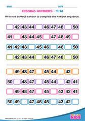 Identify Missing Numbers 41 To 50 Number Worksheets Kindergarten Preschool Math Worksheets Math Activities Preschool