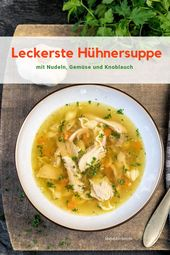 Rustic chicken soup with noodles and garlic