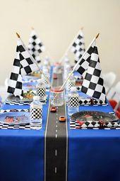 Rennwagen Party Kuchen Tisch Hintergrund, Dessert …