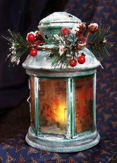 Photo of Weihnachts-LED-Metalllaterne – hängende Kerzenlaterne – Glaskerzenhalter – Weihnachtsverzierung –