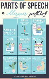 Elements of Speech Posters – Llama Theme