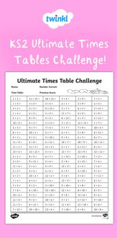 Ks2 Ultimate Times Table Sheet Math Facts Practice Multiplication Math Problem Solving Activities Math Fact Practice