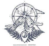 Berge und Kompass Tattoo. Symbol für Tourismus, Klettern, Camping. Mountain Top und Vintage Kompass Tattoo und T-Shirt Design #TattooInspiration …