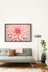 Pink Dahlia Print, Fine Art Flower Photography Print Pink Flower, Wall Art for Above Couch, Home Dec