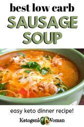 Soupe de saucisses Keto aux poivrons et épinards