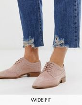 DESIGN Wide Fit Mai Tai Lederbrogues in Rouge