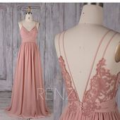 Bridesmaid Dress Dusty Rose Long Chiffon Boho Wedding Dress Spaghetti Strap Prom Dress Ruched V Neck Open Back A-line Party Dress (H549B)