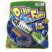 Dive Fun White & Green Striped Zip Fish Water Tossing Pool Toy
