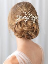 Gold Floral Vine Clip, Pearl Bridal Hair Clip, Wedding Flower Headpiece, Wedding Hair Vine, Pearl Botanical Gold Headpiece ~TC-2313