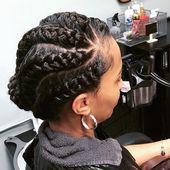 wavy parting goddess braids updo