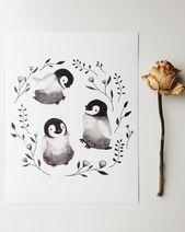 Art print, penguin baby, watercolor, illustration, emperor, animal, nursery