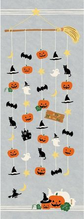 Japanese Tenugui Towel Cotton Material, Halloween Cellular, Pumpkin, Bat, Ghost, Cat…