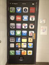 Door decor for technology classroom at an Apple Distinguished School  – found higher resolution app icon photos and enlarged them. Then I laminated th…