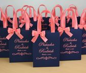 25 Wedding Welcome bags with satin ribbon handles, bow and names, Elegant Navy Blue & Coral Personalized wedding party favor for guests