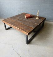 Industrial Chic Style Reclaimed Custom Coffee Table.Steel and Wood Metal Hand Ma…