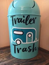 Trailer Trash Can- RV Camper Decor- Vinyl Camper Decal- Small Waste Basket- 5 Liter Trash Bin