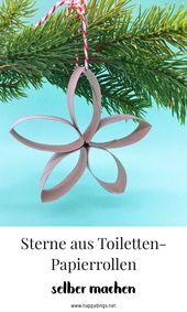 Photo of Basteln Sie Weihnachtsdekorationen – Sterne aus Toilettenpapierrollen mit Video