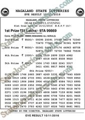 Nagaland State Lottery 8pm Today Lotteries Evening Result Todays