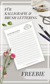 Übungsblätter für Kalligraphie, Hand Lettering & Brush Lettering // PDF (kostenlos