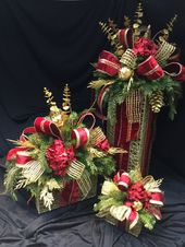 """""""Classic Red and Gold"""" Lighted Christmas Holiday Box, Centerpiece, Large, Mini"""