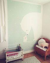 Mit Farbe und Pinsel Der große Eisbär und sein kleiner Freund passen nun jede Nacht auf die Zwillinge (Mädchen & Junge) auf. Ein gutes Beispiel für ein Geschlechtsneutrales Bild, wenn sich Geschwister ein Zimmer teilen oder man nicht wissen möchte, welches Geschlecht das Baby bekommt. ❄️ #frolleinlücke #wandbemalung #eisbär #hase #schnee #mint #maileg #greengate #zwillinge #kunst #kinderzimmer #kinder #kinderlachen #malen #fantasie #familie #babyzimmer #interiordesign #interior – Zimmer