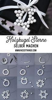 Hölzerne Geschenkanhänger zum Basteln von Kugelsternen und Schneeflocken aus Perlen / Hama-Perlen