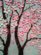 Tag und Nacht Kirschblütenbäume Original Ölgemälde auf Leinwand Sofort lieferbar   – pin19